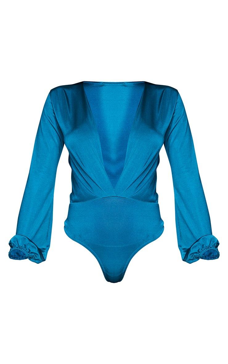 Teal Stretch Satin Draped Plunge Neck Long Sleeve Bodysuit 5
