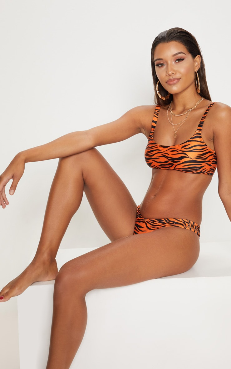 Orange Tiger Print V Front Bikini Bottom 5