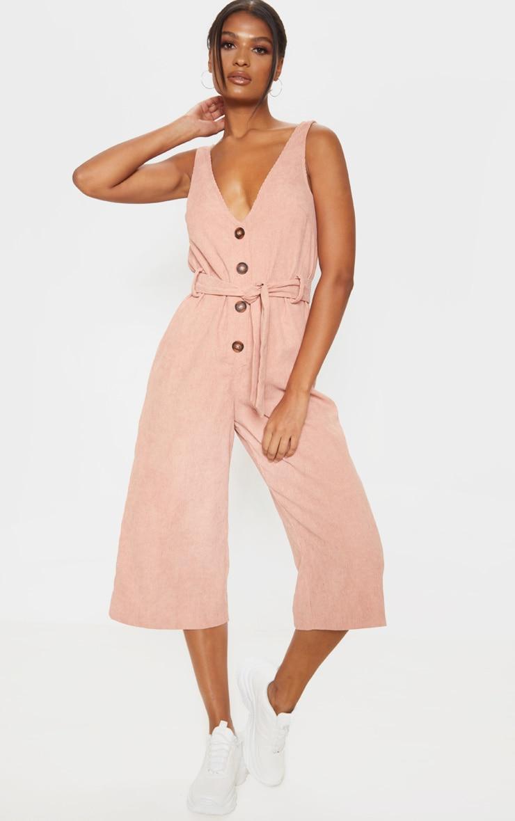 Blush Cord Button Front Culotte Jumpsuit 1