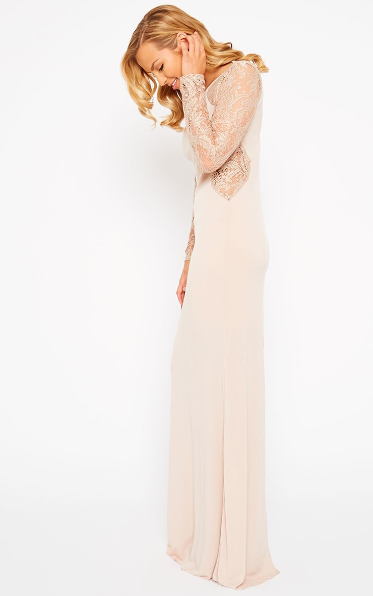 Debbie Nude Lace Insert Maxi Dress 6
