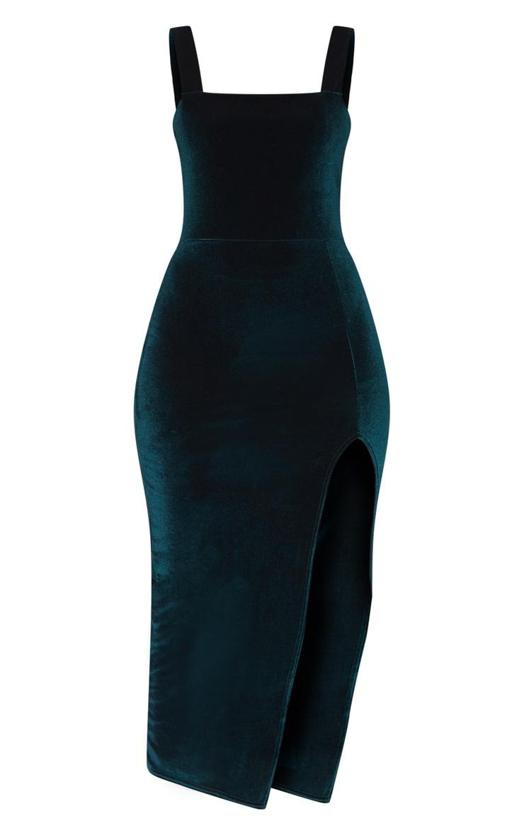 Emerald Green Velvet Square Neck Split Leg Midi Dress 3