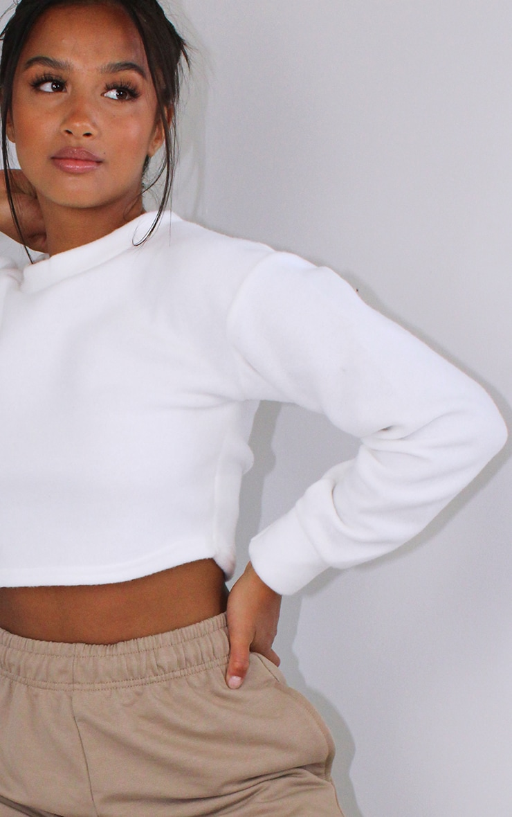 Petite White Brushed Sweat Oversized Jumper 4