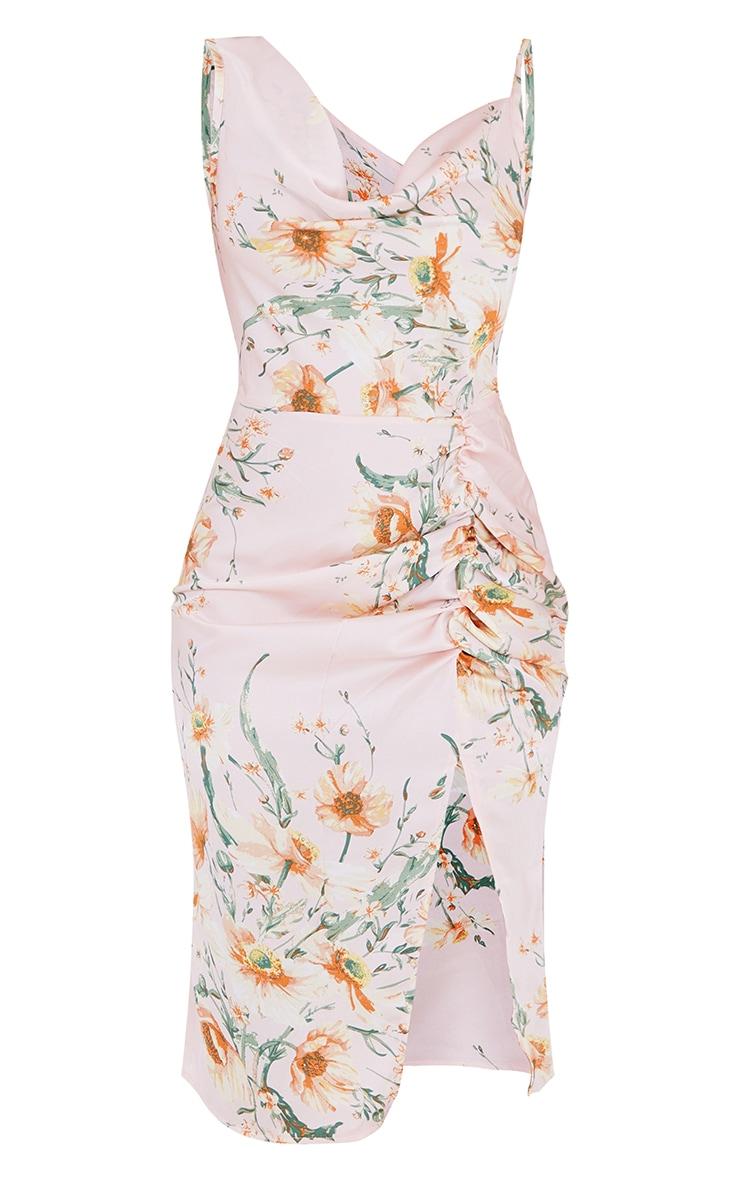 Pale Pink Floral Print Asymmetric Cowl Midi Dress 5