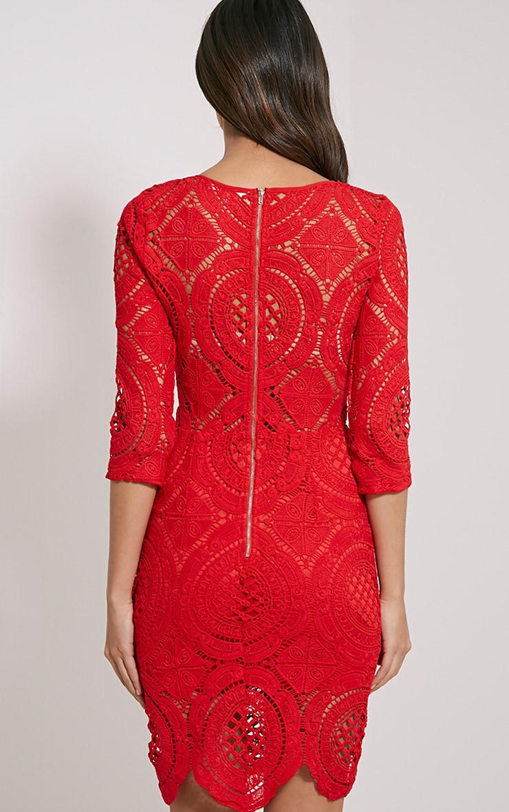 Annice Red Crochet Scallop Edge Dress 2