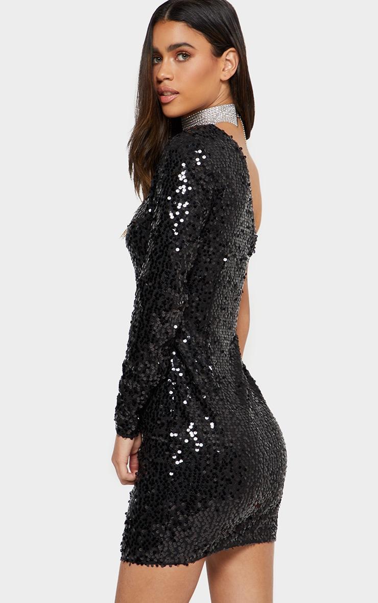 Black One Sleeve Sequin Bodycon Dress 3