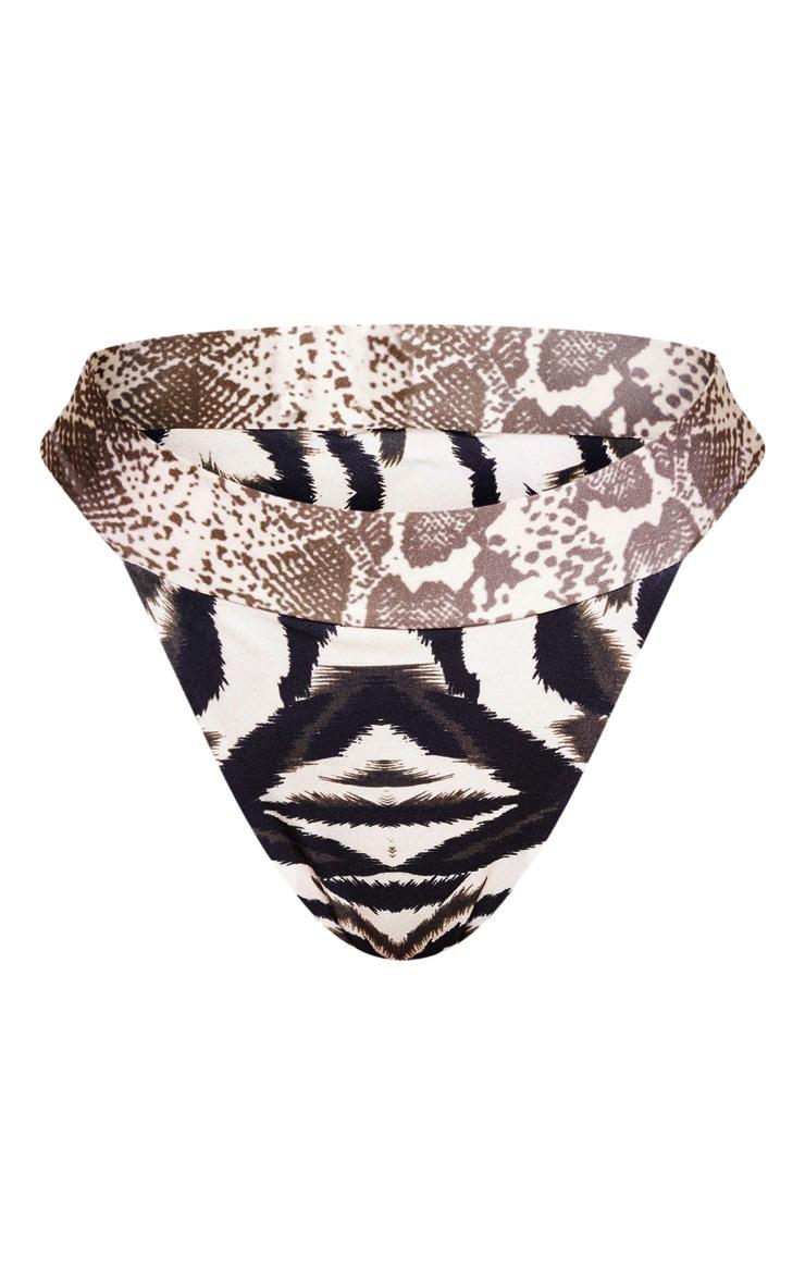 Multi Animal Contrast Print Tanga Bikini Bottom 6