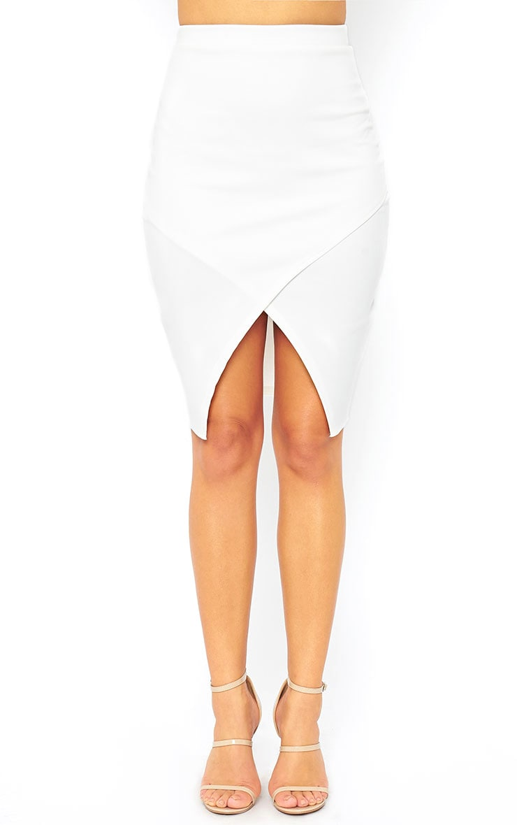Melrose Cream Scuba Midi Skirt 2