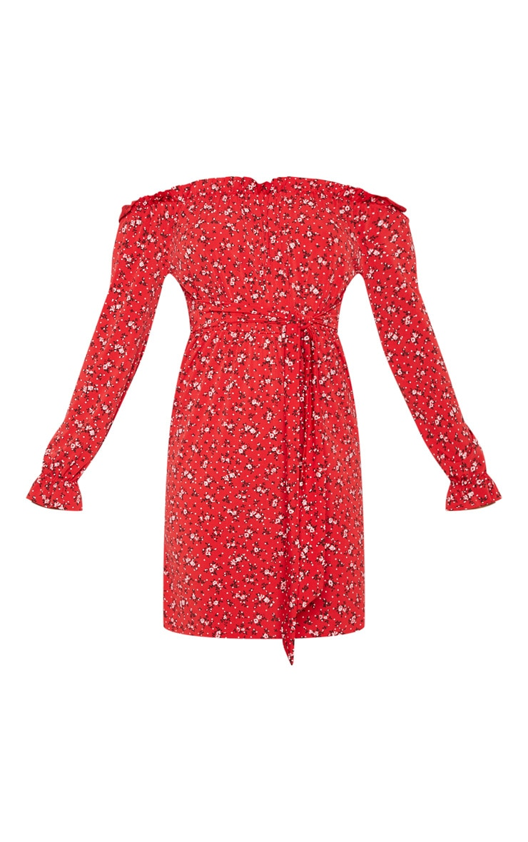 Red Ditsy Floral Bardot Tie Waist Dress 3