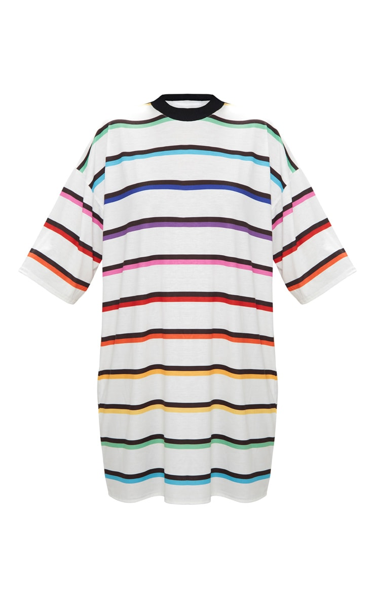 White Rainbow Stripe T Shirt Dress  3