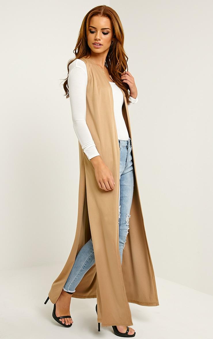 Reina Camel Long Length Faux Suede Kimono 3