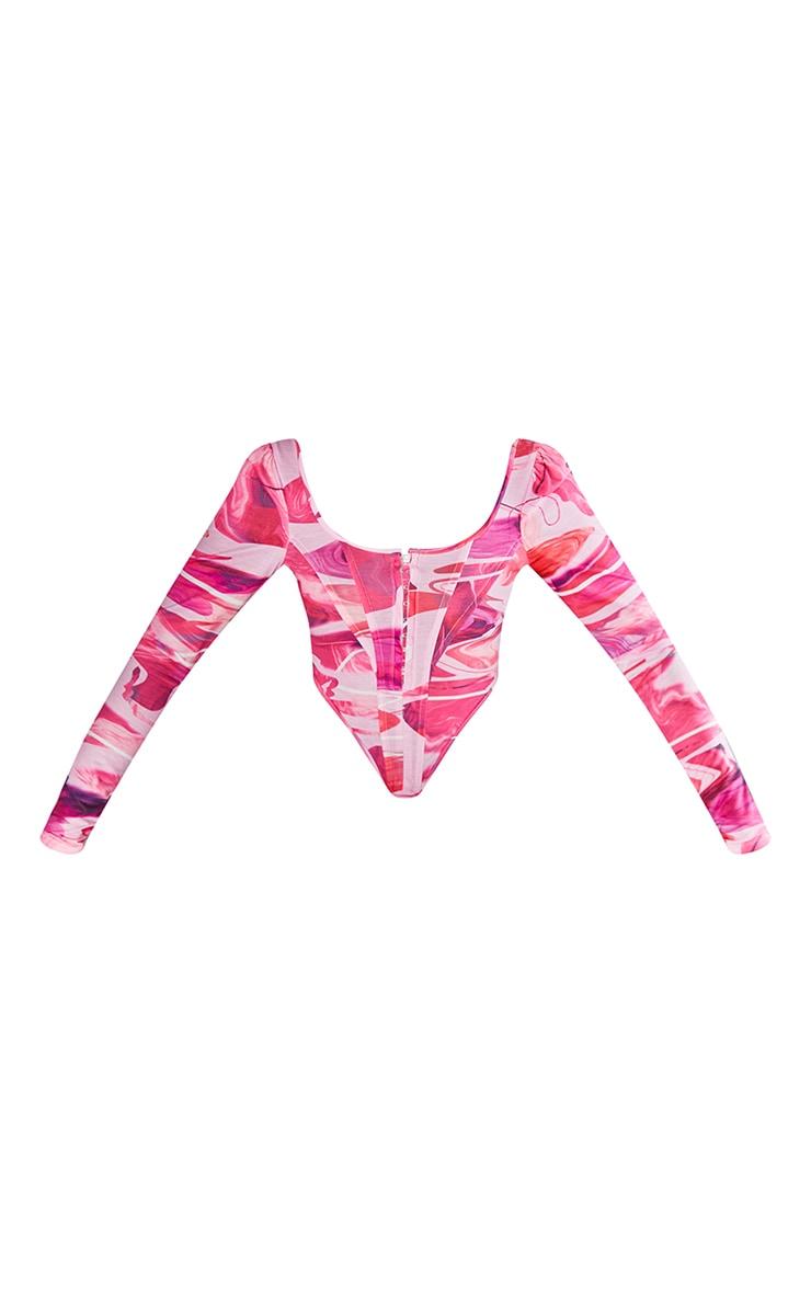 Pink Swirl Texture Print Jersey Long Sleeve Pointed Hem Corset 5