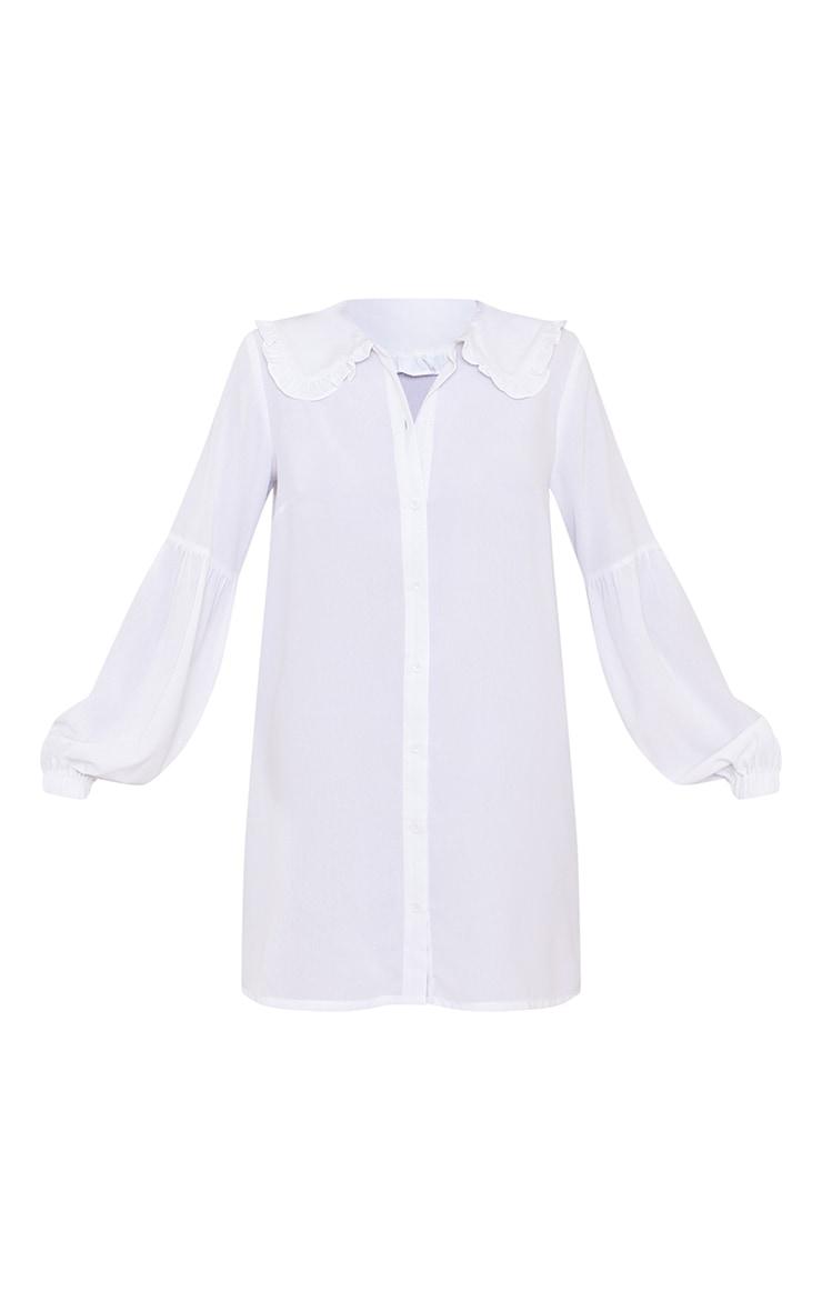 White Frill Collar Balloon Sleeve Shirt Dress 5