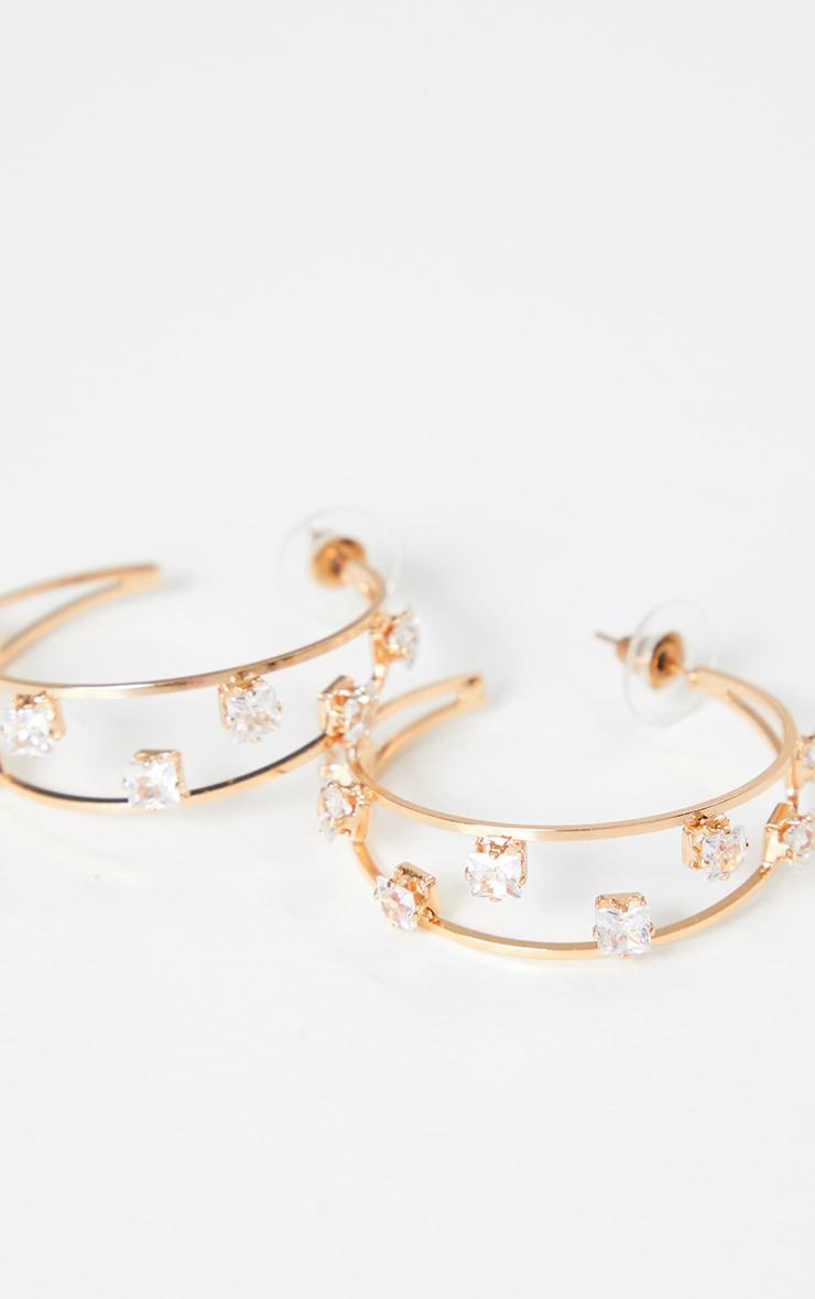 Gold Crystal Studded Double Medium Hoops 2