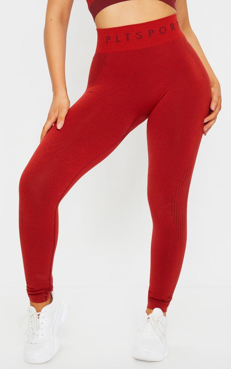 PRETTYLITTLETHING Red Rib Line Detail Seamless Gym Leggings 2