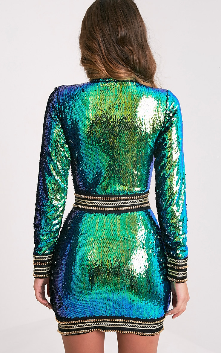 Anisha Green Premium Embellished Sequin Bodycon Dress 3