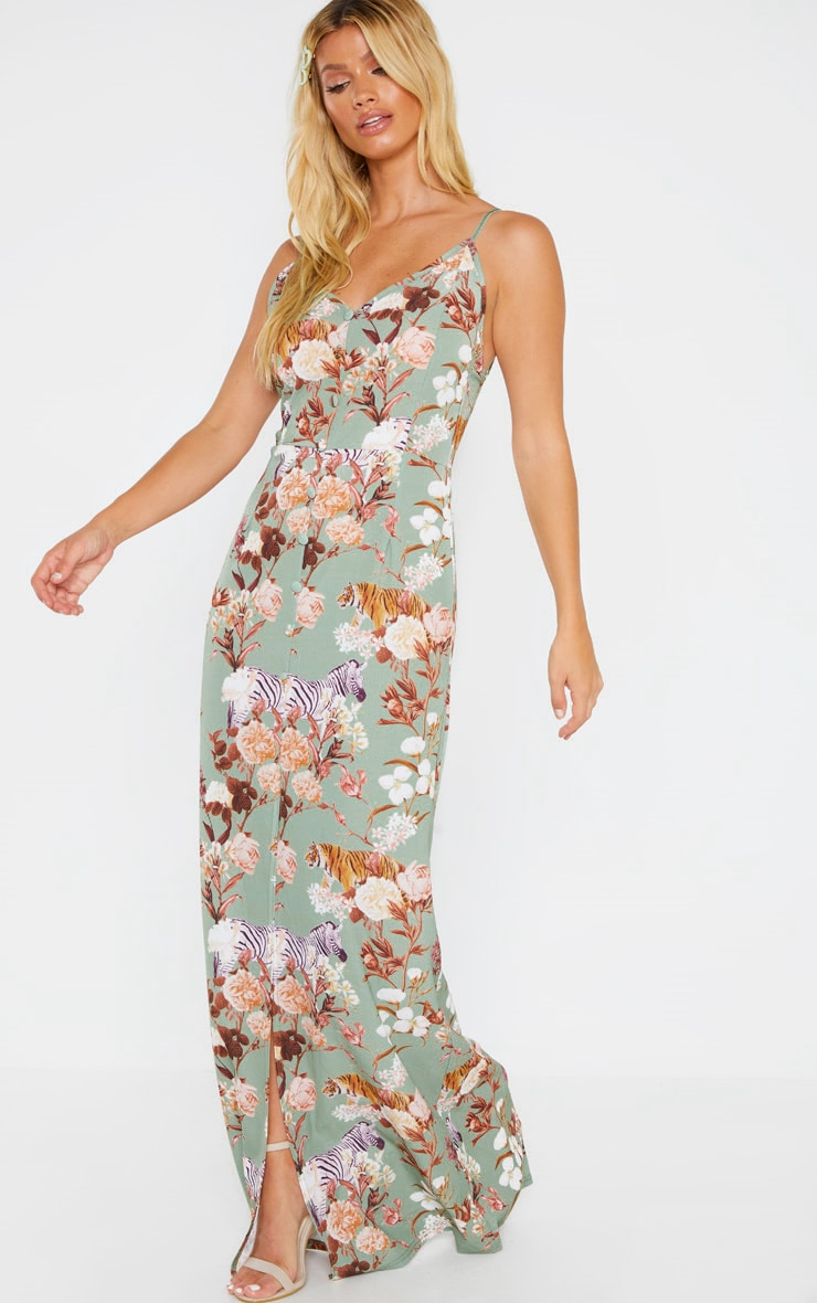 Sage Green Floral Print Button Through Maxi Dress 4