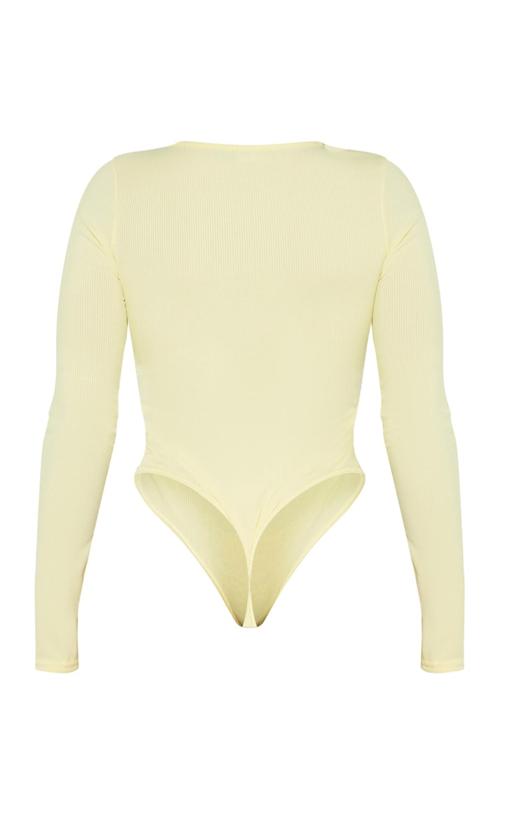 Shape Lemon Yellow Ribbed Long Sleeve Bodysuit 4