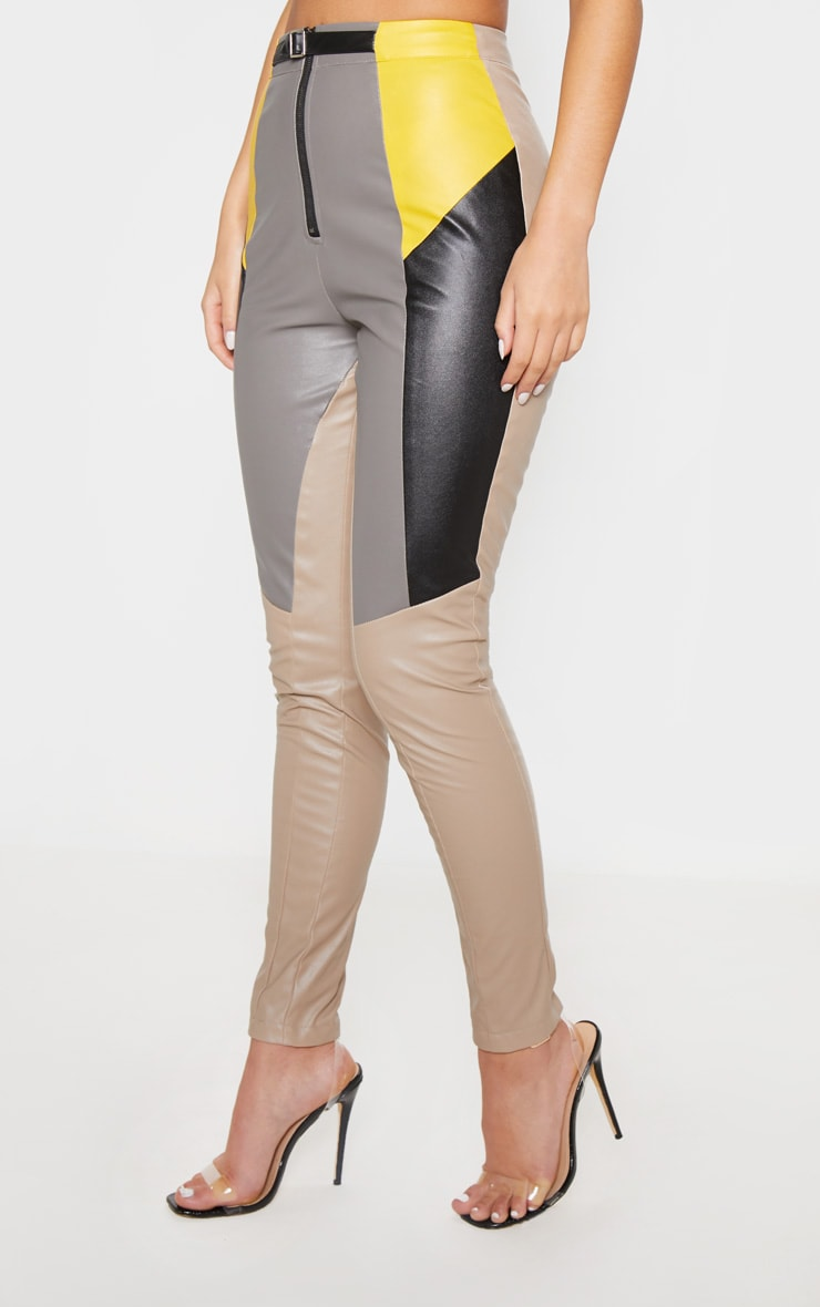 Grey Faux Leather Belted Straight Leg Trouser 2