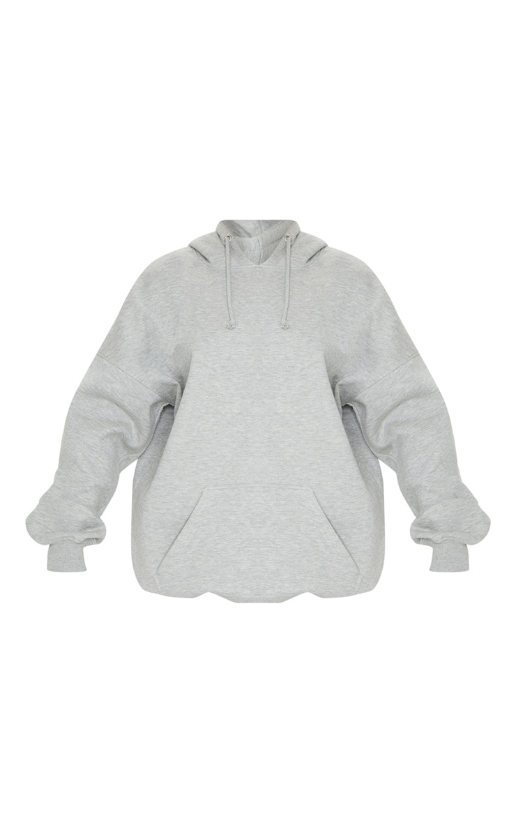 Grey Oversized Pocket Front Drawstring Hoodie 5