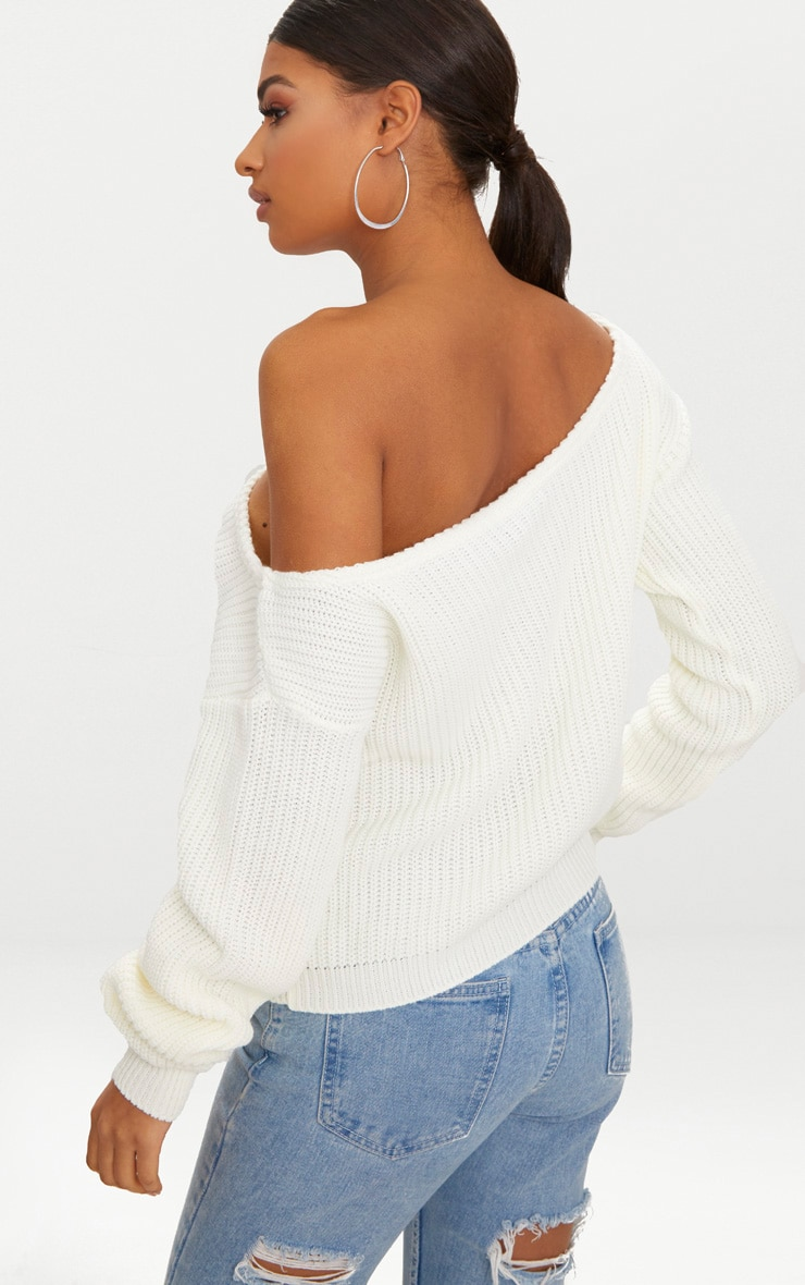 Cream Off The Shoulder Crop Knitted Jumper 2