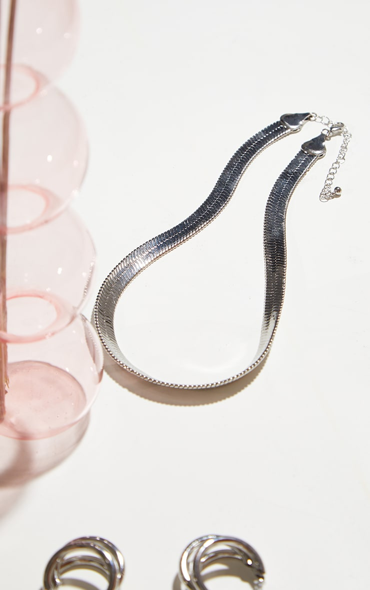 Silver Chunky Snake Chain Necklace 3