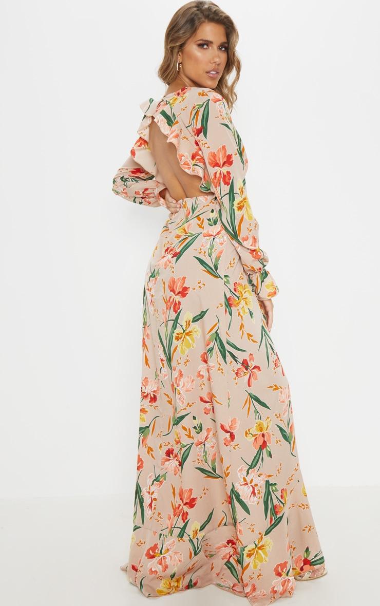 Floral Frill Detail Open Back Maxi Dress 2