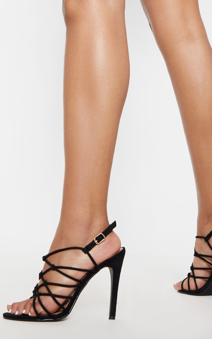 Black Strappy Knot Heeled Sandal 1