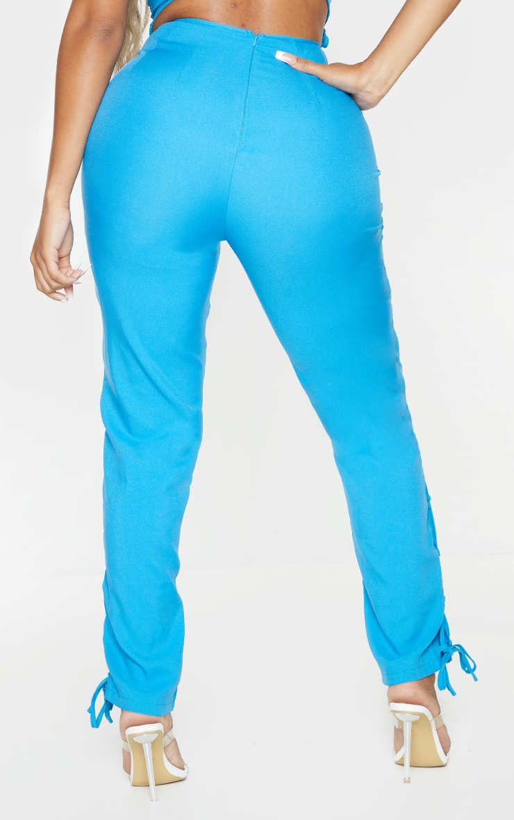 Shape Bright Blue Lace Up Detail Skinny Trousers 3