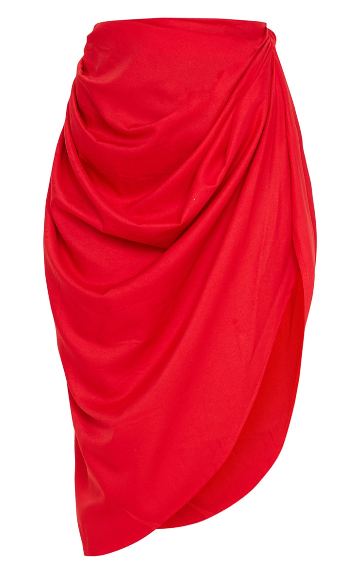 Red Ruched Side Midi Skirt 3