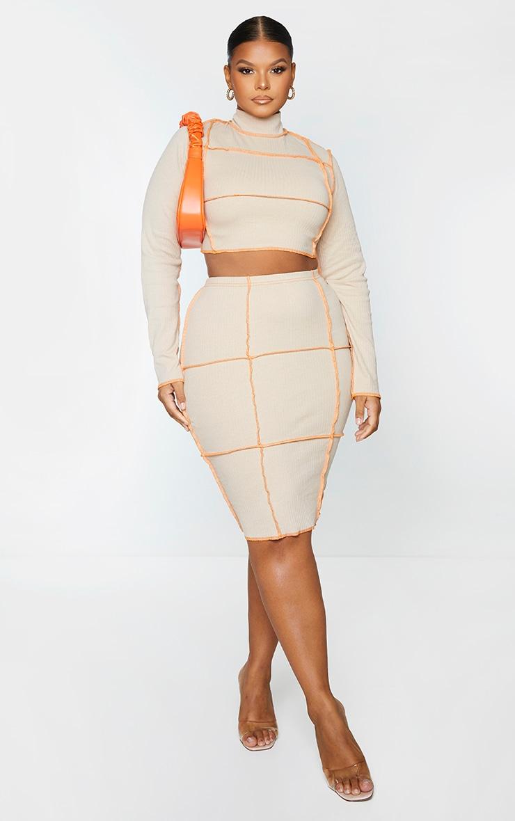 Plus Stone Contrast Rib Midi Skirt 1
