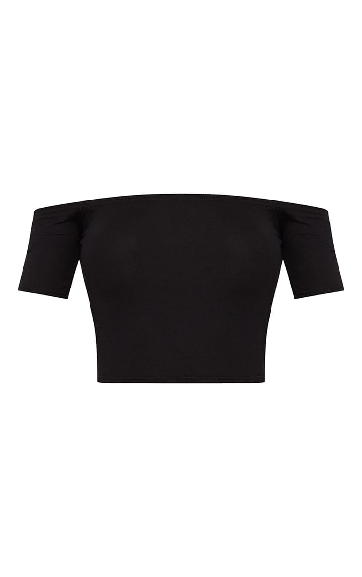 Basic Black Cotton Blend Bardot Crop Top 3