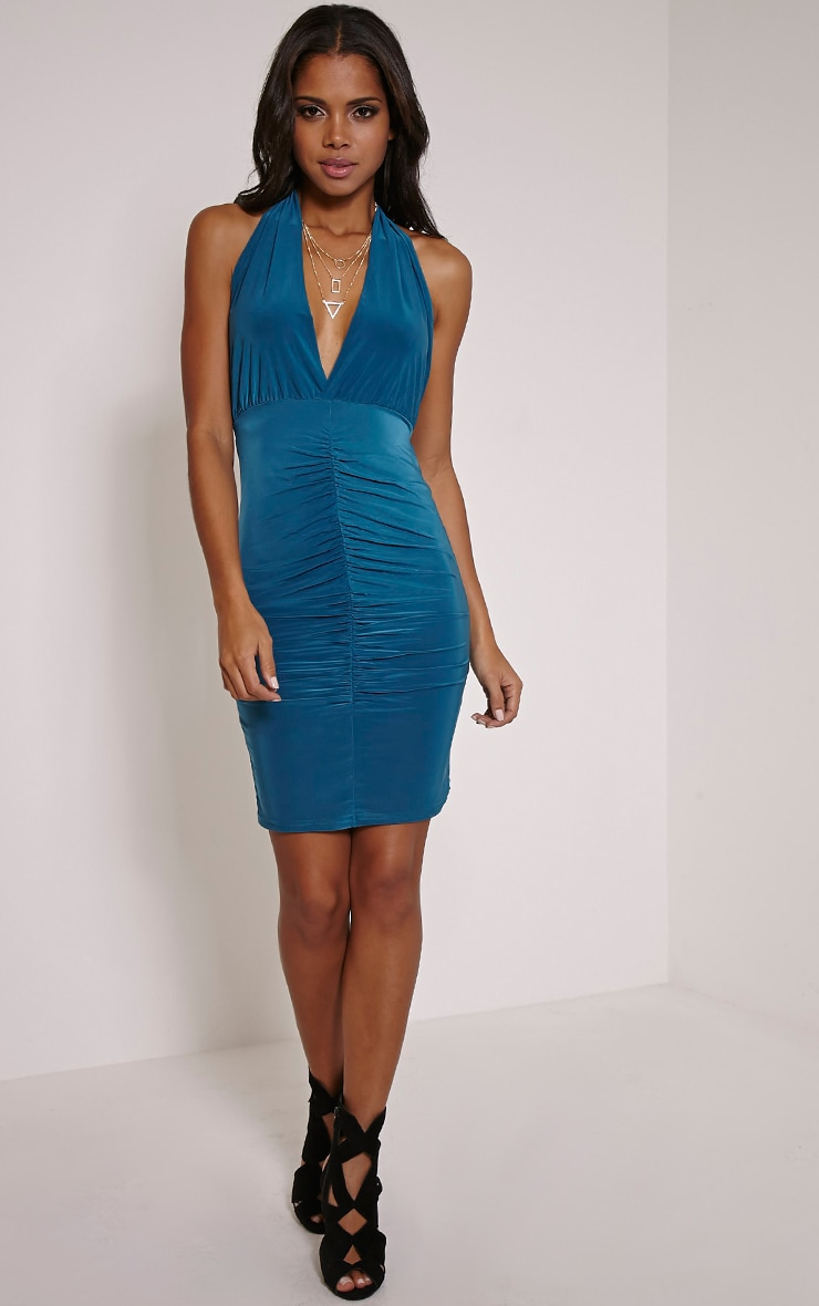 Cindie Teal Ruched Front Dress 4