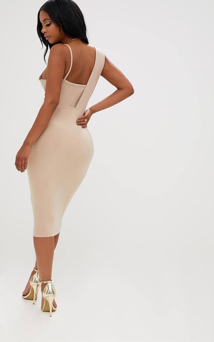 Shape Nude Knot Front Plunge Midi Dress 2