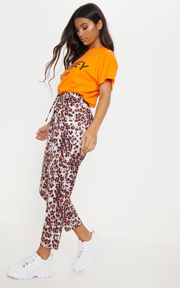 d439ccd1655 Diya Orange Leopard Print Casual Trouser