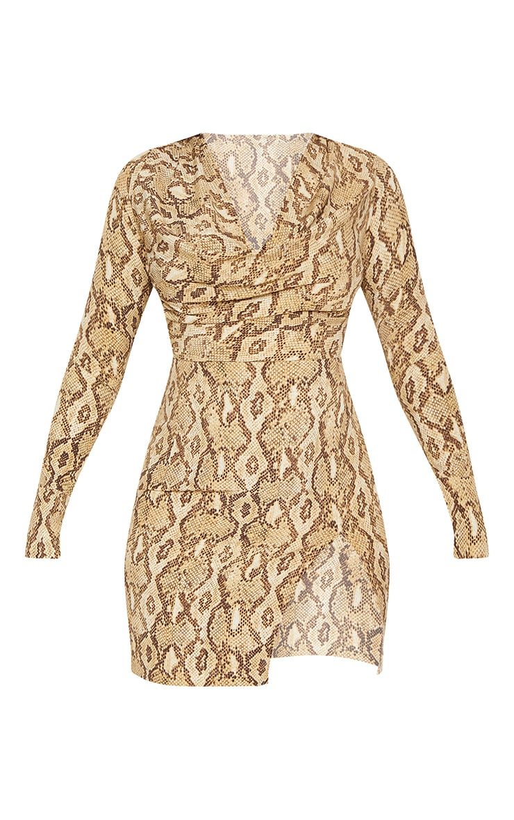 Beige Snake Print Cowl Neck Bodycon Dress 4