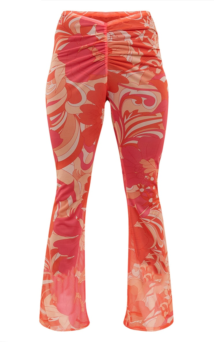 Plus Pink Floral Ruched Mesh Beach Flares 5