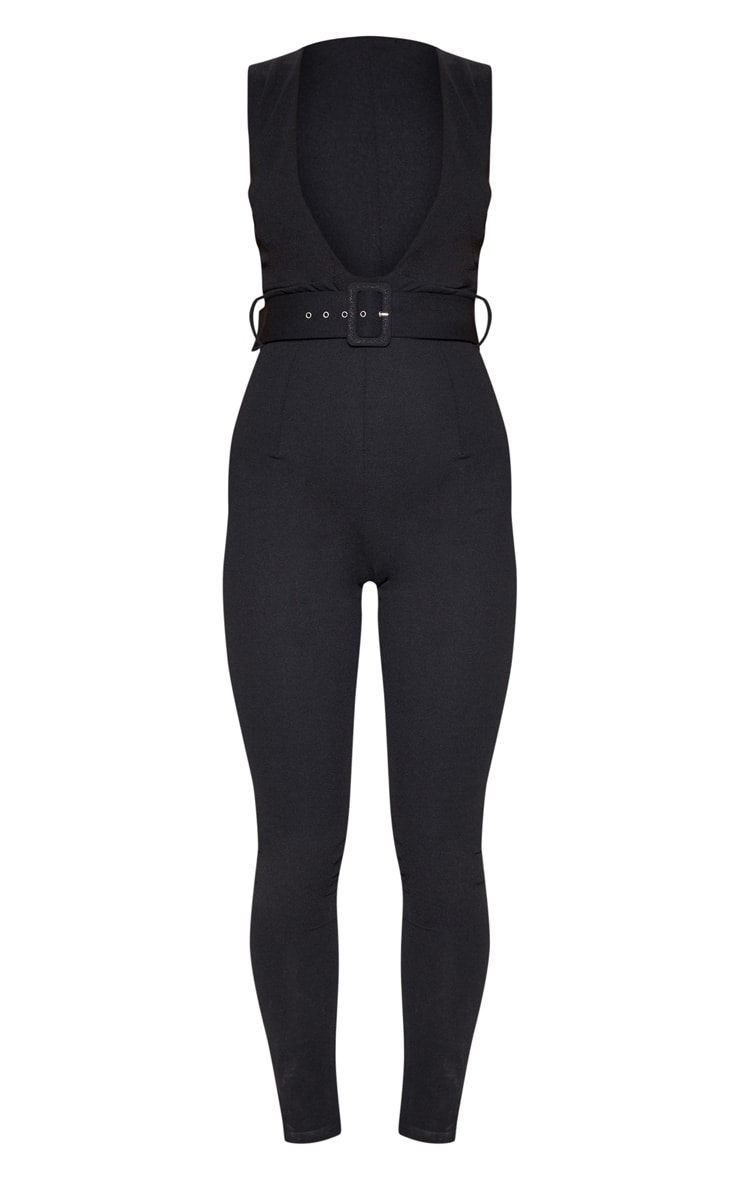 Black Plunge Square Belt Detail Jumpsuit 3