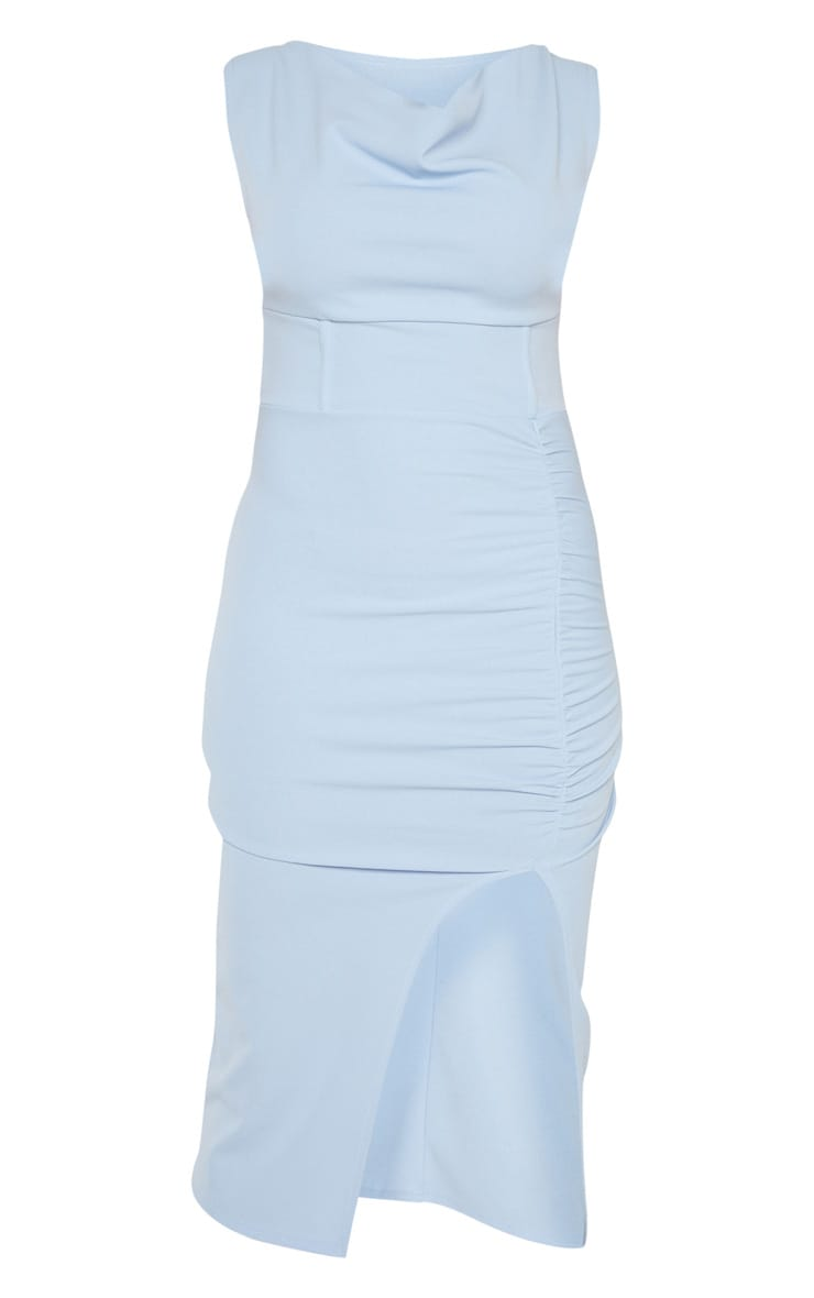 Dusty Blue Ruched Cowl Neck Midi Dress 3