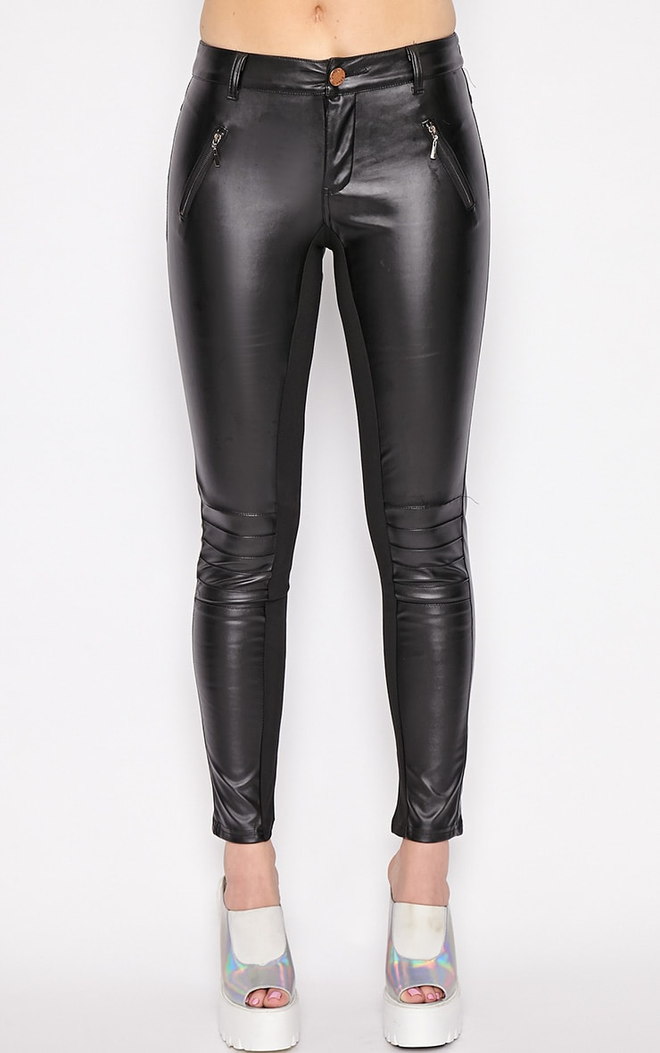 Augustina Black Leather Trousers 4