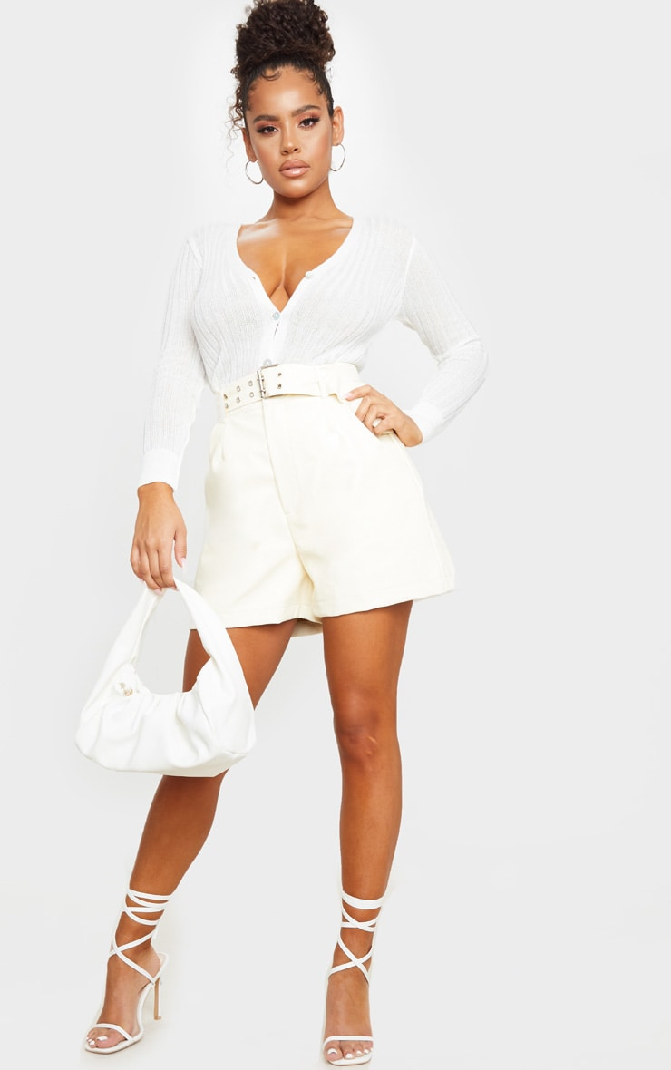 Cream Oversized Belted Faux Leather Tailored Shorts 1