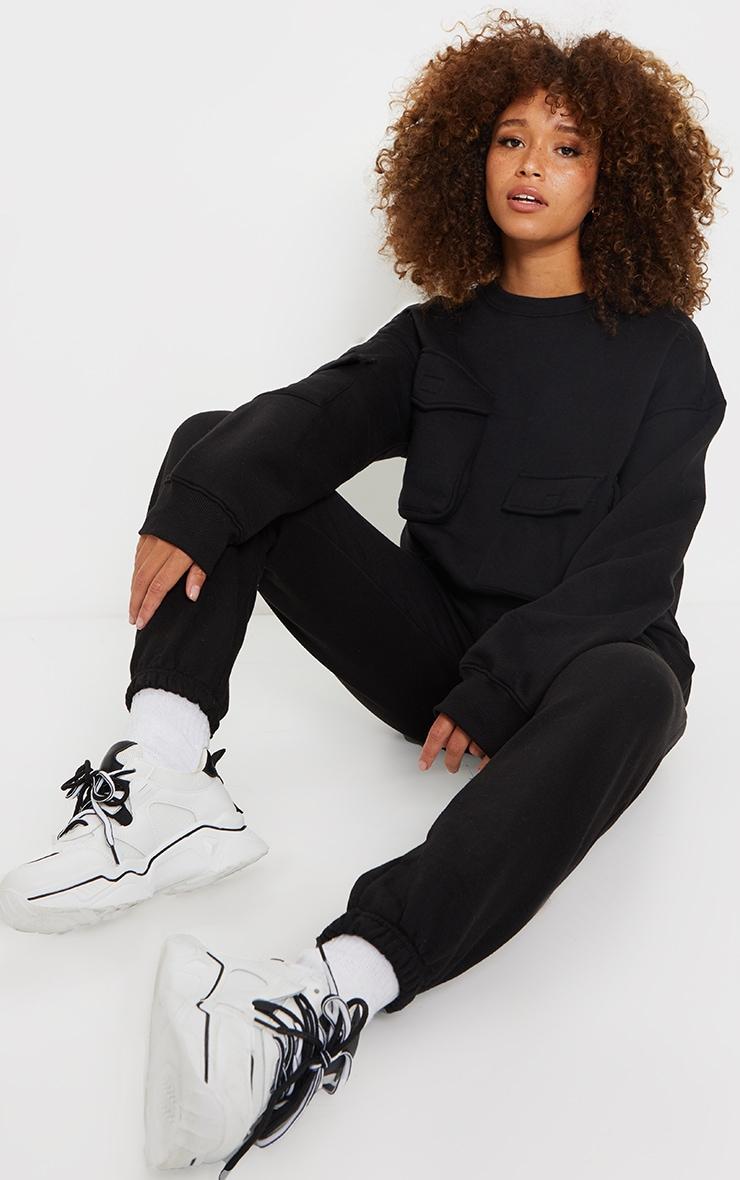 Black Oversized Pocket Detail Sweatshirt 3
