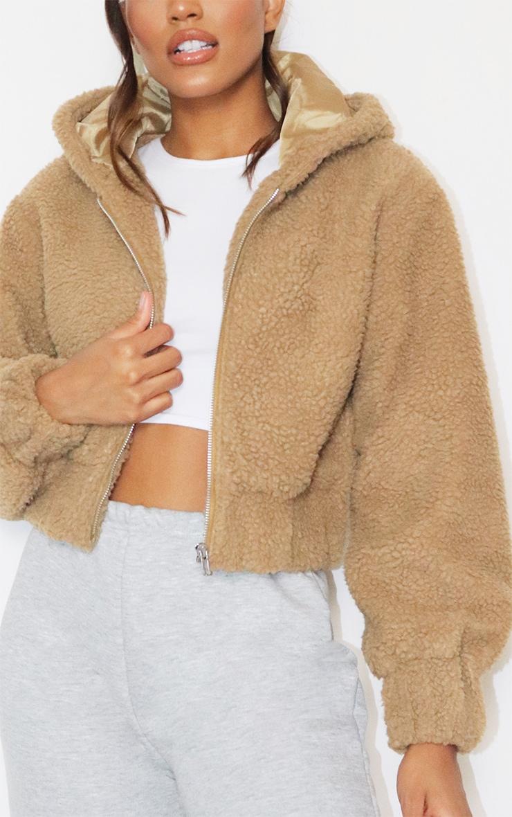 Veste en faux mouton camel zippée à capuche 4