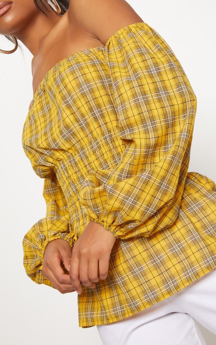 Mustard Check Shirred Detail Long Sleeve Bardot Top 5