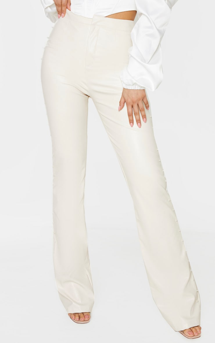 Tall Cream Beaded Side PU Flared Pants 2