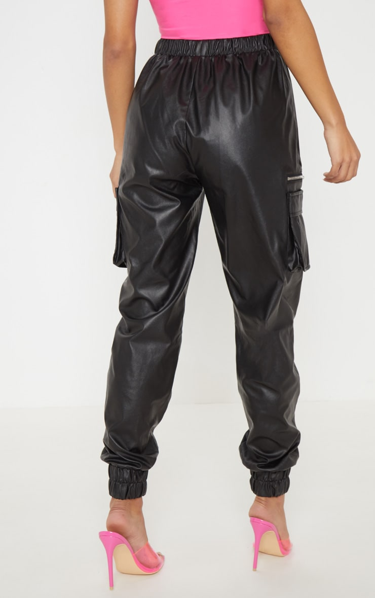 Black Faux Leather Cargo Track Pants 4