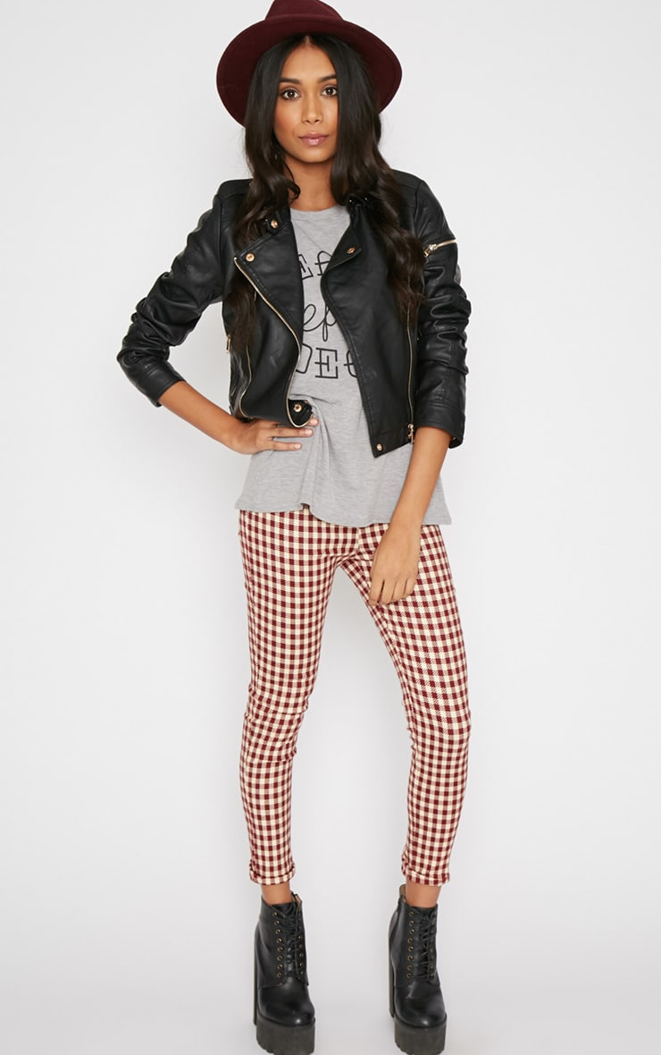 Libby Red Checked Skinny Trouser 1