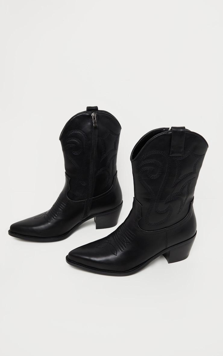Black Stitch Detail Western Calf Boot 3