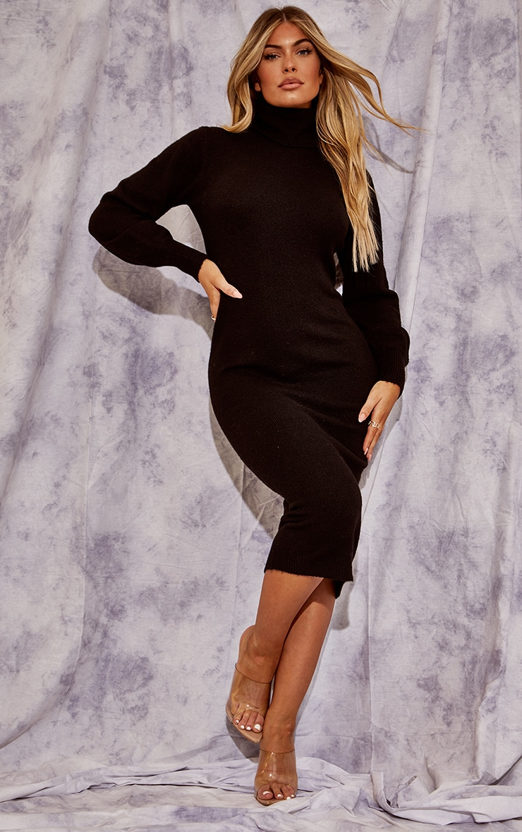 Recycled Black Knitted Roll Neck Midaxi Dress 1
