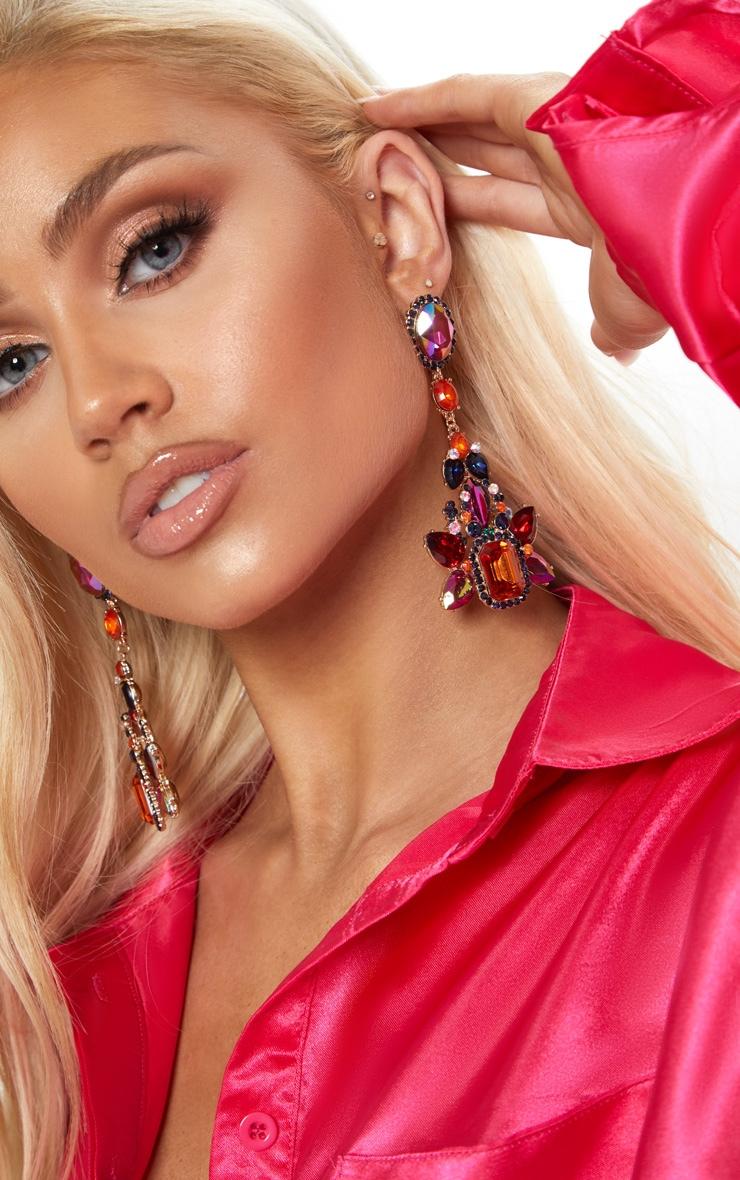 Purple And Orange Gemstone Embellished Statement Drop Earrings 1