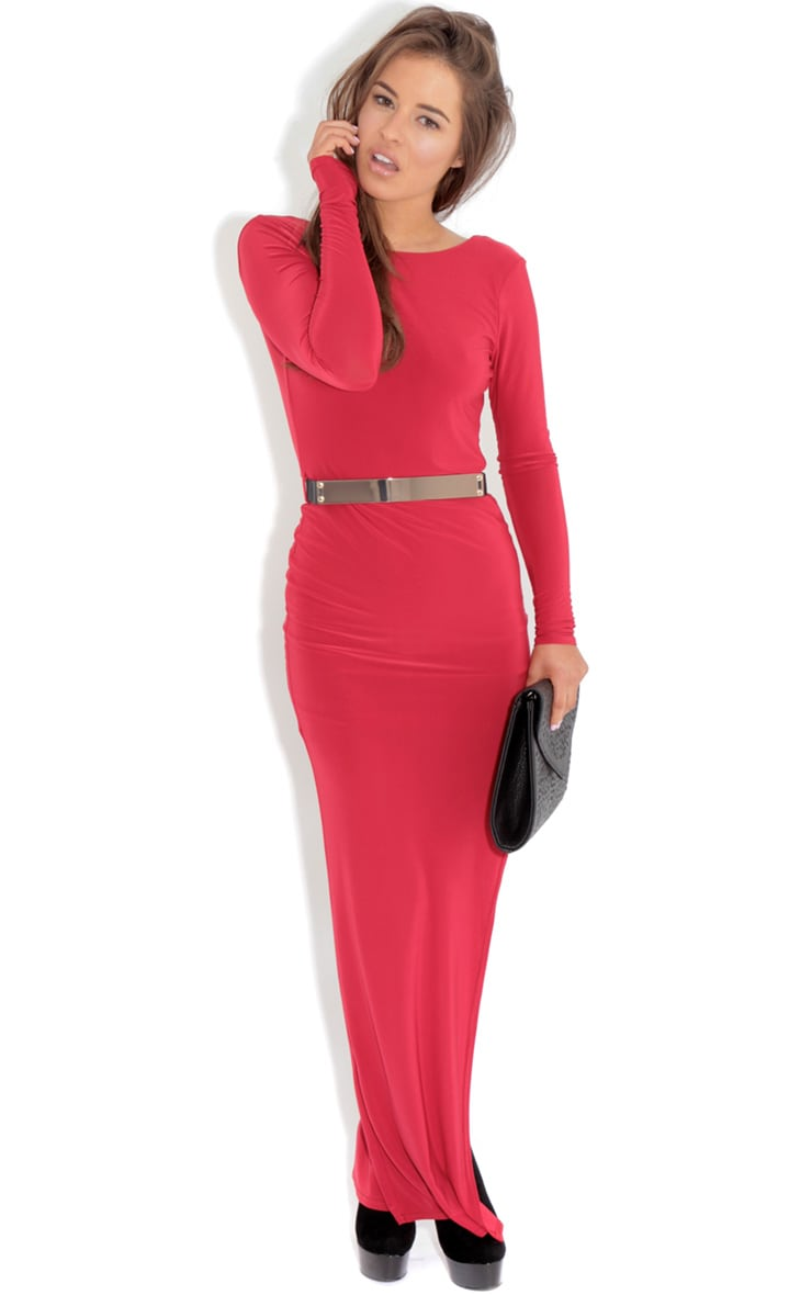 Alysa Red Maxi Dress With Gold Tone Belt 1